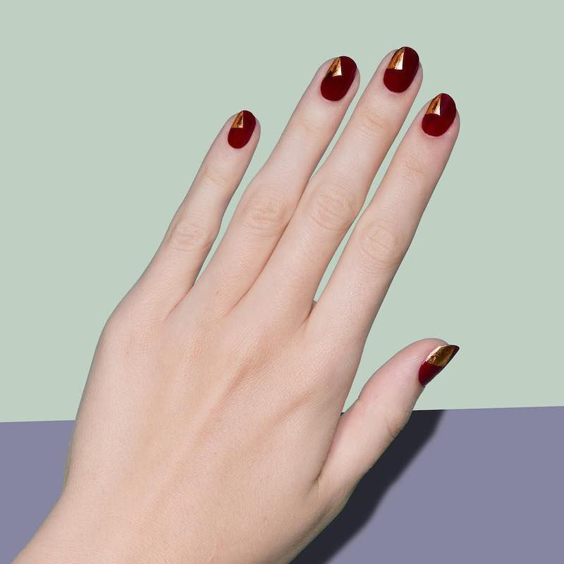 Simple Nail Designs Gold Accents