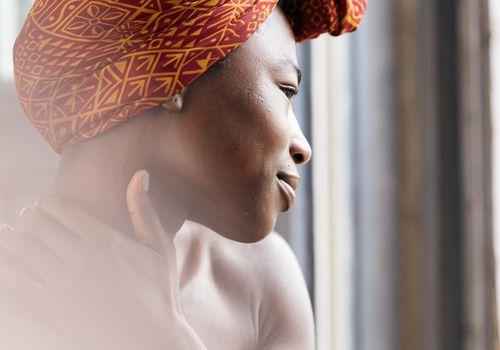 Woman looking at skin