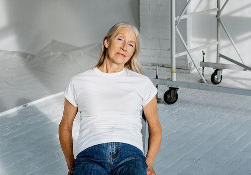 elderly person in studio portrait