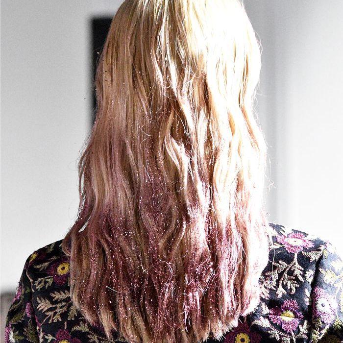 how to wear glitter makeup: glitter hair backstage at giambattista valli
