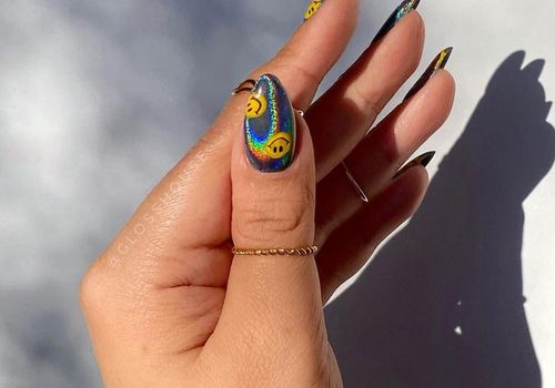 holographic smiley nails