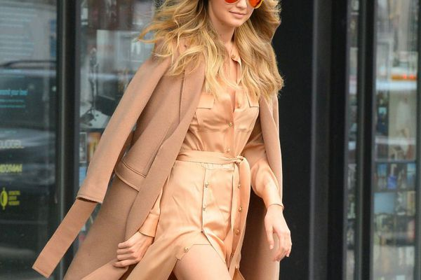 gigi hadid in a camel coat