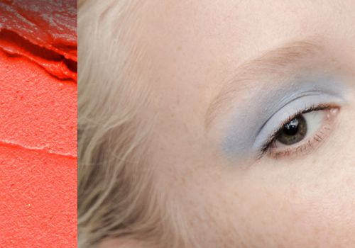 collage of a a makeup smear and a woman with light colored eye shadow