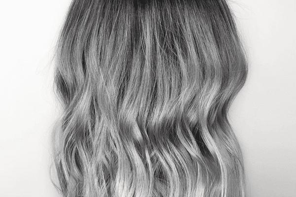 titanium hair color with beachy waves
