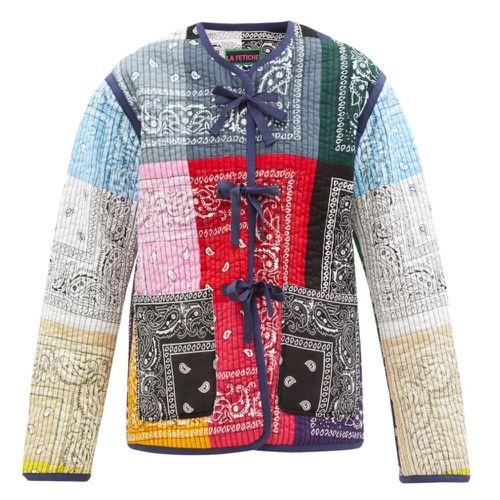 La Fetiche Janis Reversible Patchwork Cotton-Bandana Jacket