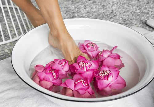 Foot soak with pink flowers