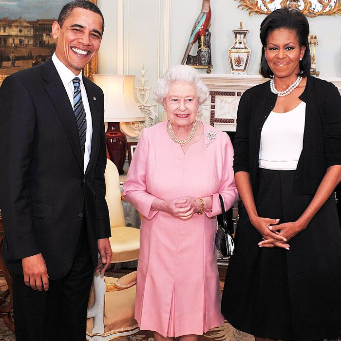 The Queen, Michelle Obama and Barack Obama