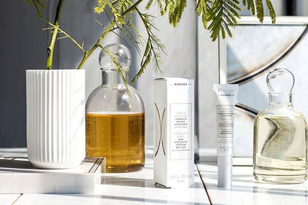 Assortment of Greek skincare products