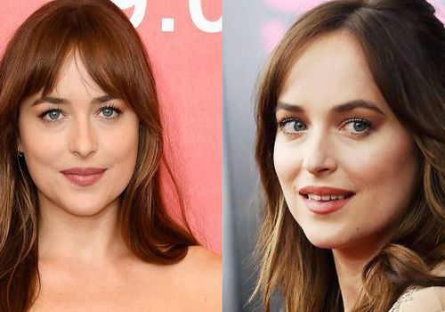 two images of dakota johnson with fringe hair side by side