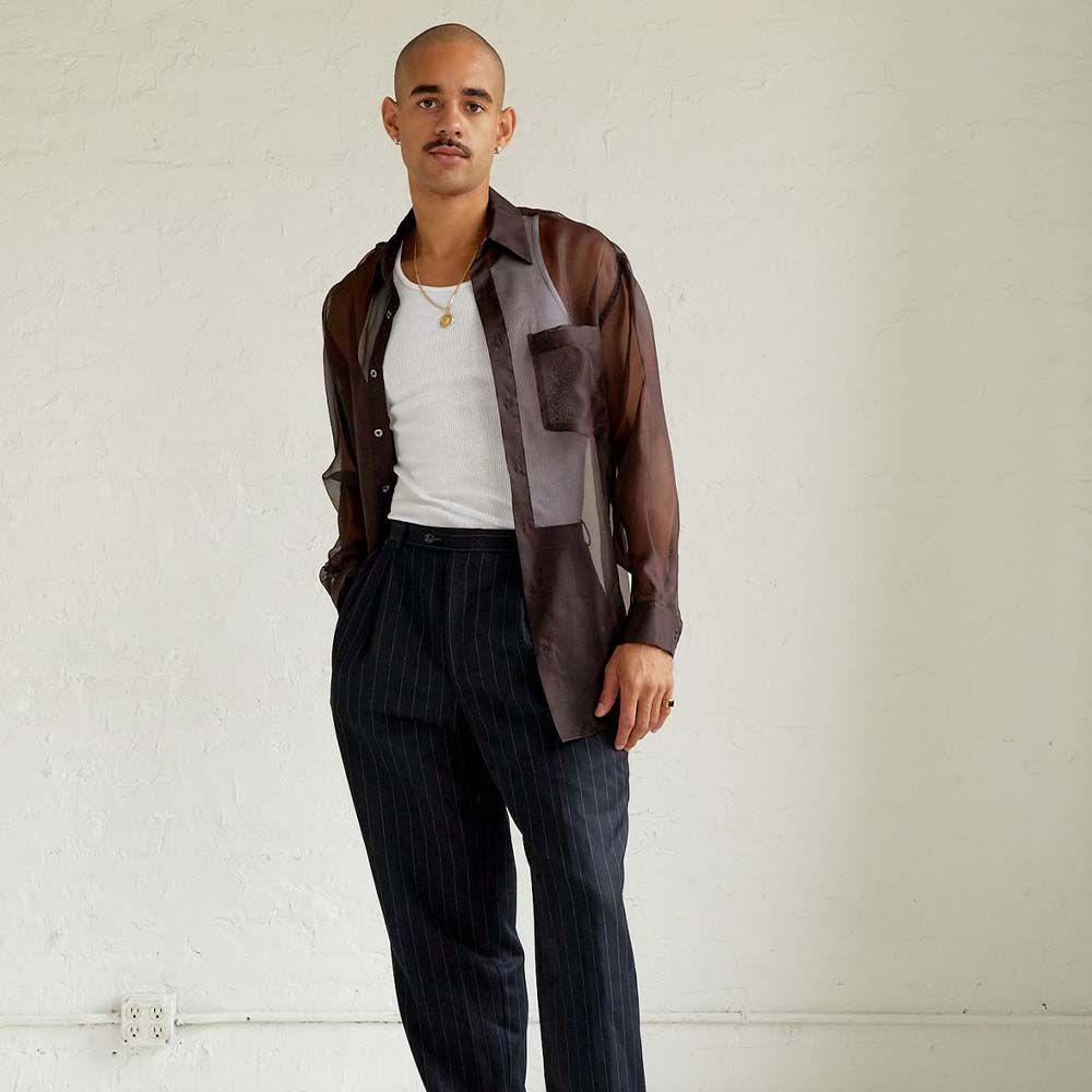 Organza Button-Up Shirt in Brown Silk