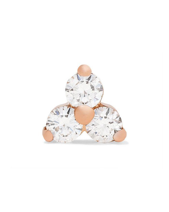Maria Tash Rose Gold Diamond Stud Earring