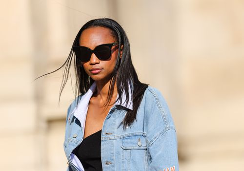 Black model with straight hair