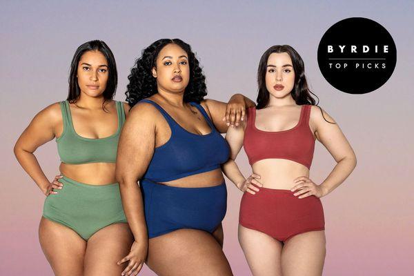 Photo composite of three women in cotton underwear sets.
