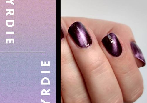 purple cat eye manicure