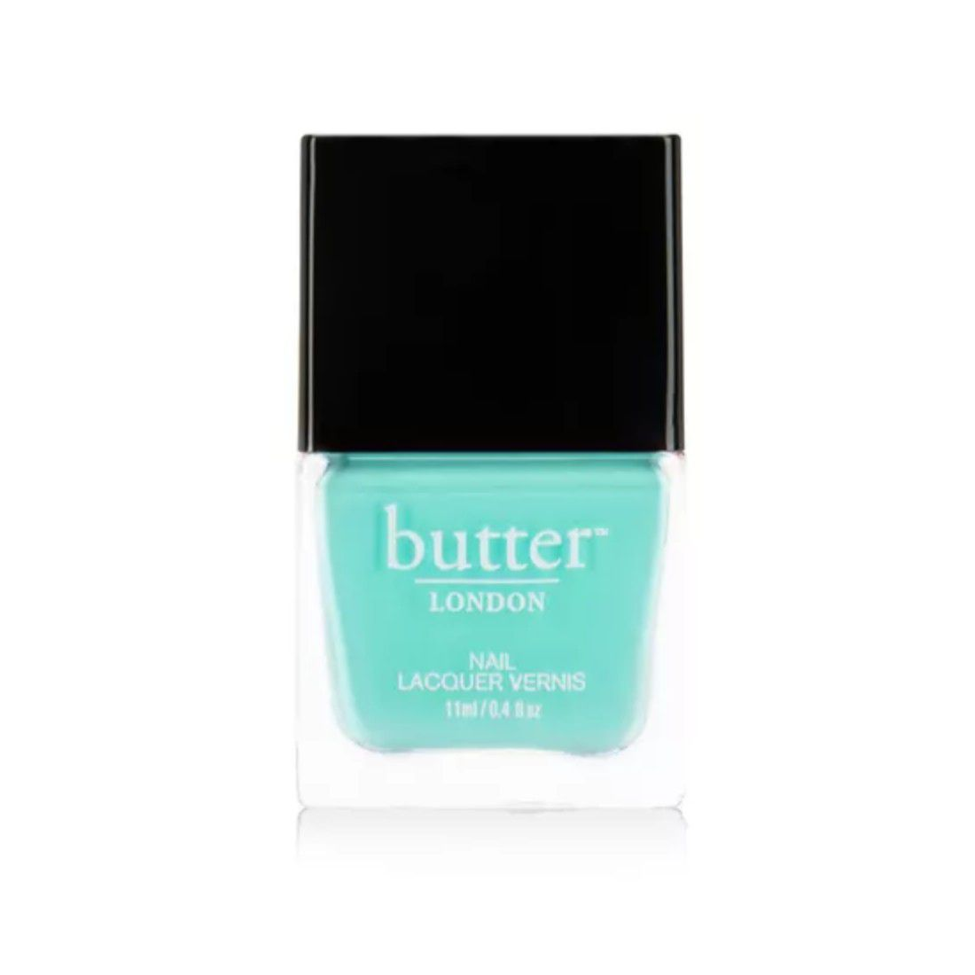 Bottle of Tiffany's blue nail polish with a black top.