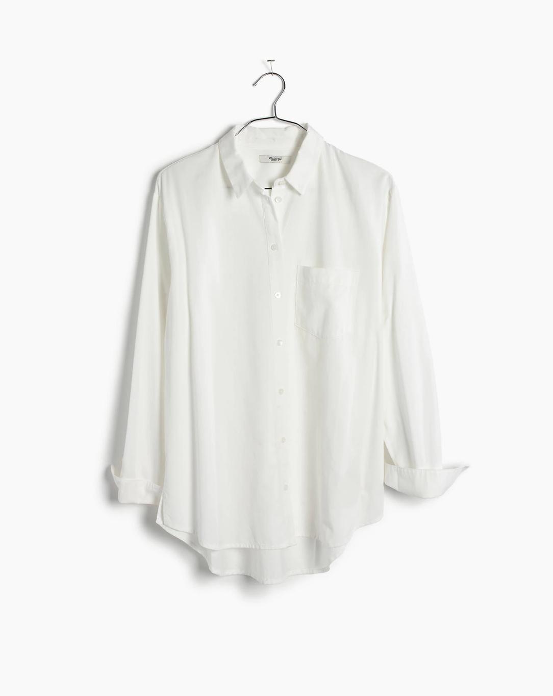 Drapey Oversized Boyshirt in Pure White