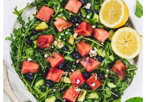 watermelon blueberry arugala salad