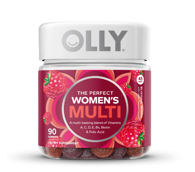 OLLY Women's multi-vitamin contains vitamins and folic acid