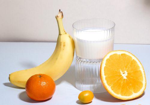 fruits & a glass of kefir