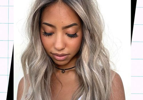 woman with silver balayage hair
