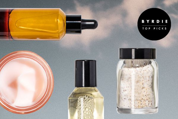 Photo composite of serums, bath salts, and a cream.