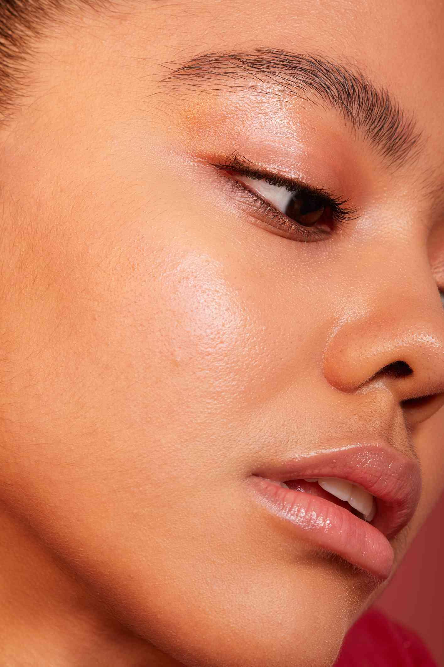 closeup of flawless skin and no-makeup look