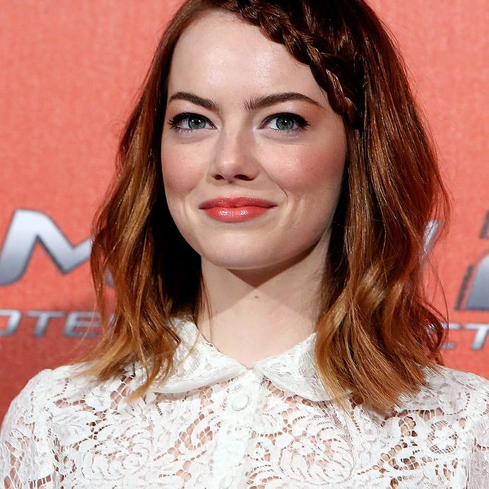 Emma Stone with braided bangs