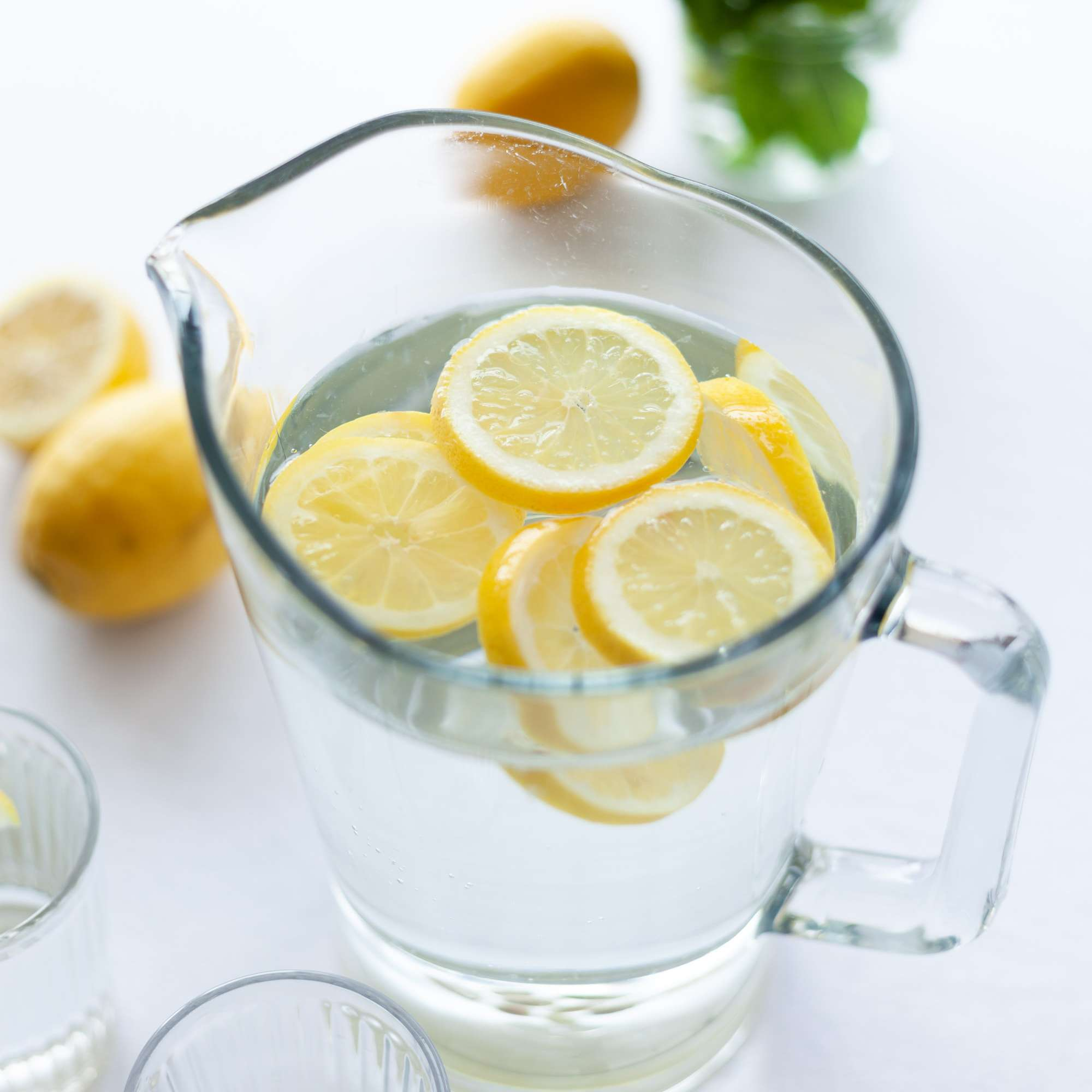 pitcher full of lemon water
