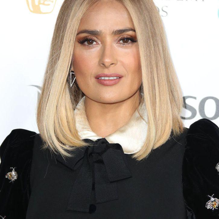 Salma Hayek blonde, blunt lob