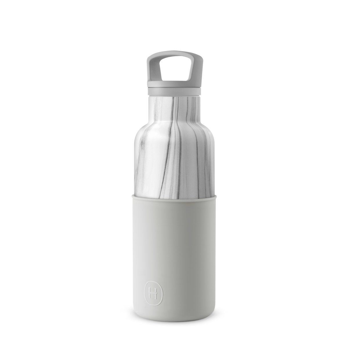 hydy water bottle in white marble and cumulus grey