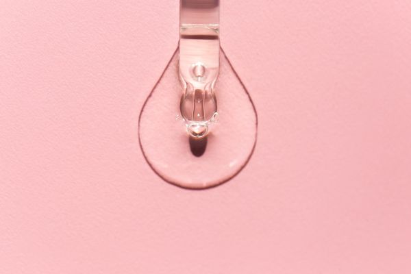 droplet of pink oil