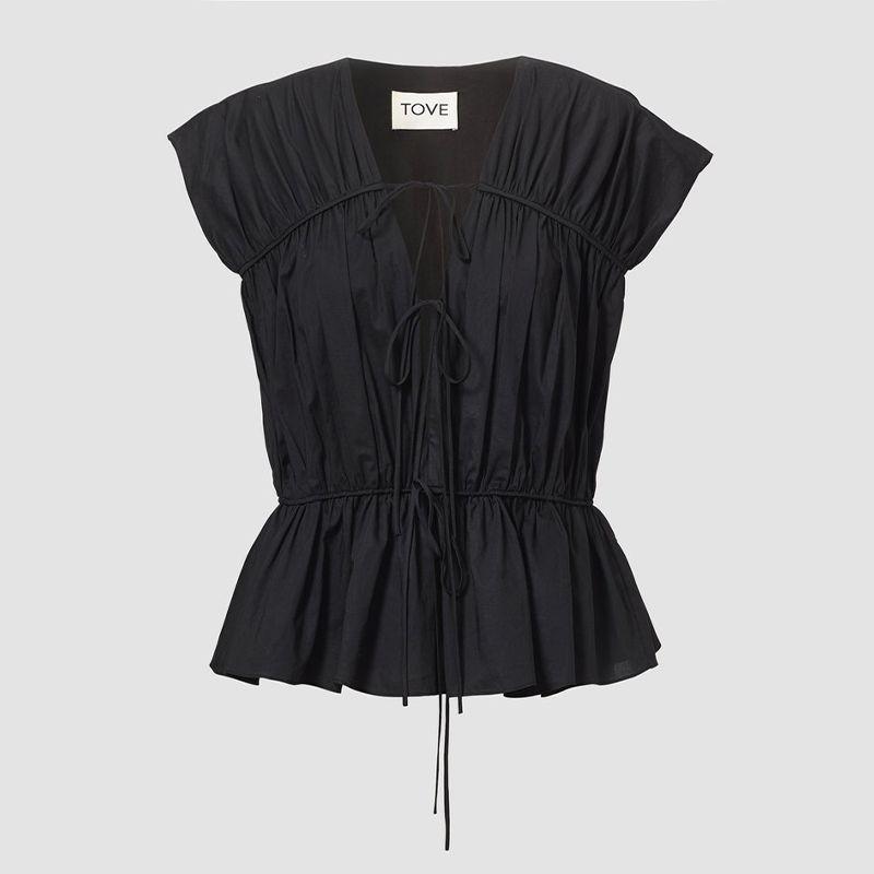 Thea Organic Cotton Gathered Sleeveless Top Black