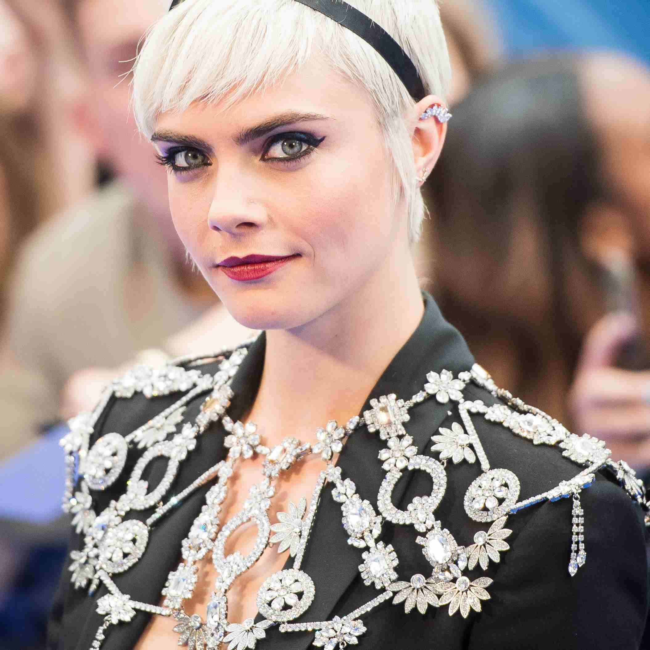 Cara Delevingne pixie cut with a headband