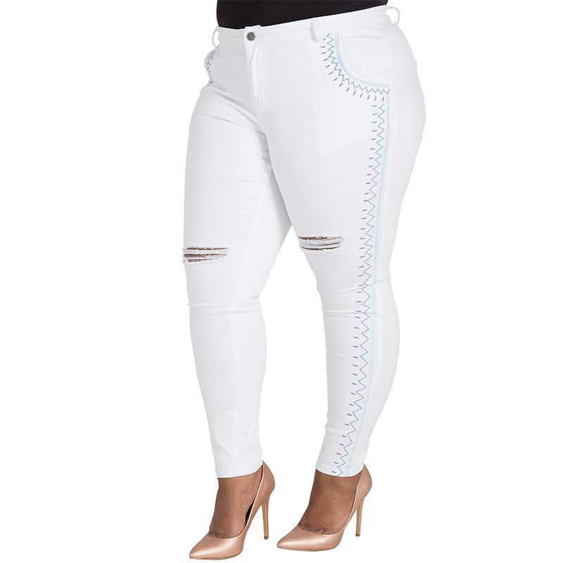 Shantelle Tribal Embroidery White Skinny Jeans