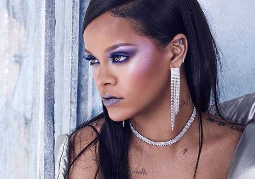 rihanna in purple makeup