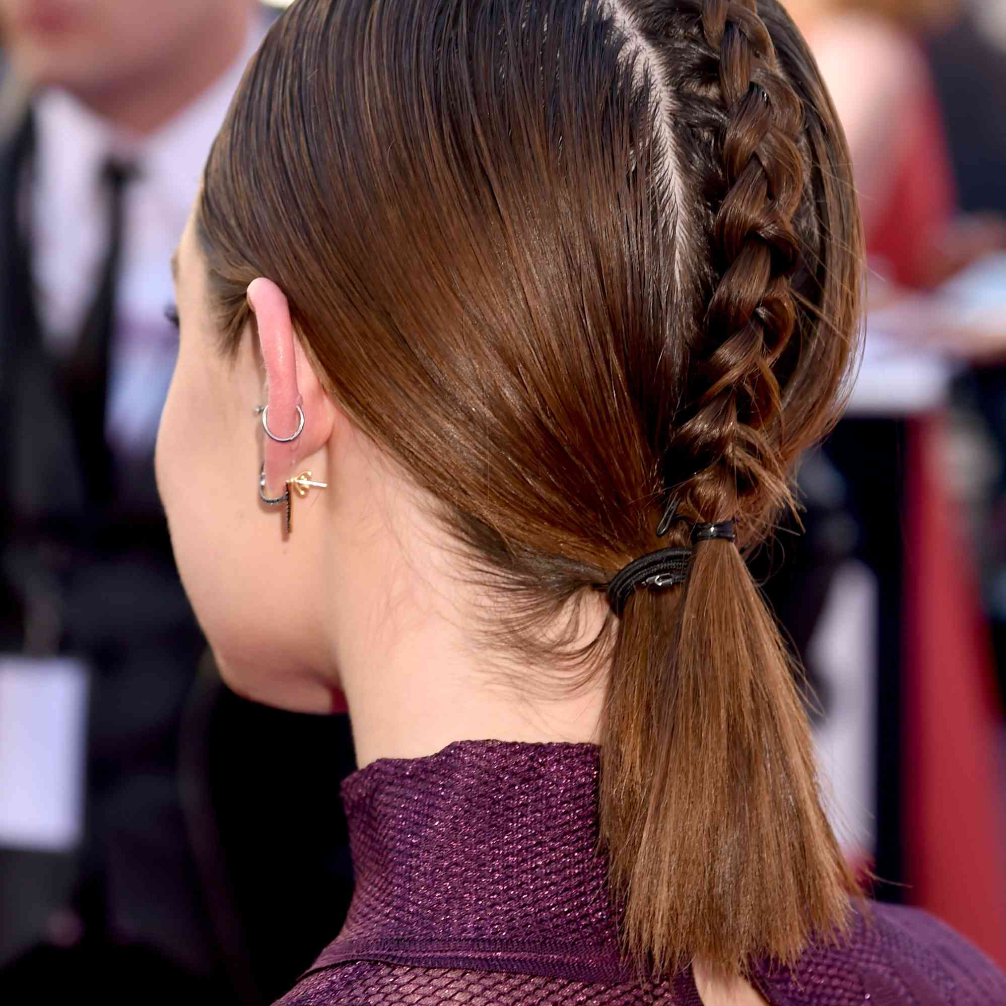 Lucy Hale's Braided-Back Ponytail