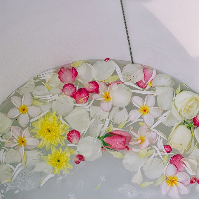 flowers in bathtub