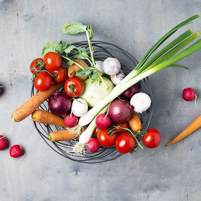 Plant based diet: Plate of fruit and vegetables