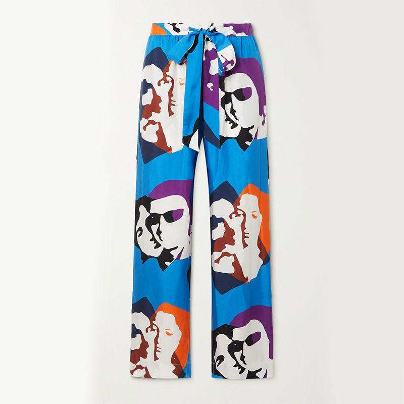 Pijama The Kiss Printed Silk-Twill Wide-Leg Pants