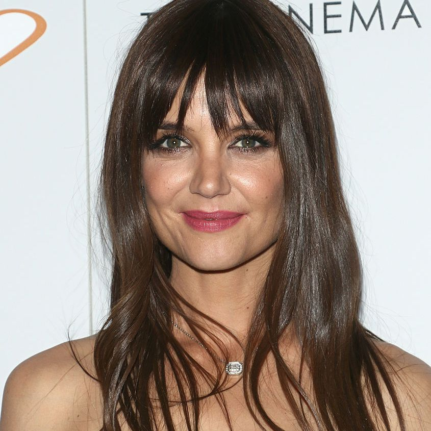 Katie Holmes long straight hair with bangs