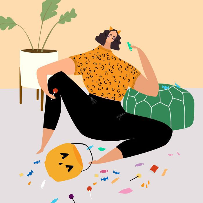 Illustration of woman sitting on floor, surrounded by candy