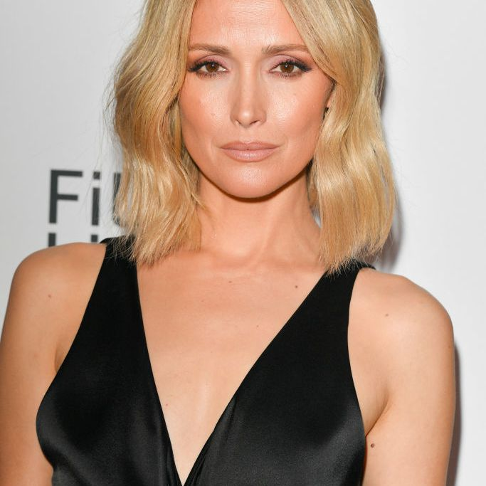 Rose Byrne textured blonde lob with dark roots