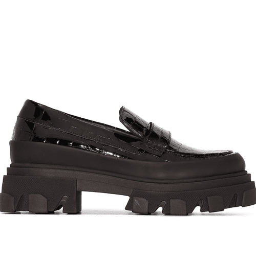 Ganni Crocodile Embossed Flatform Loafers