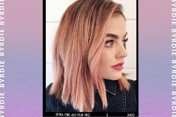 lucy hale with pastel pink halloween hair