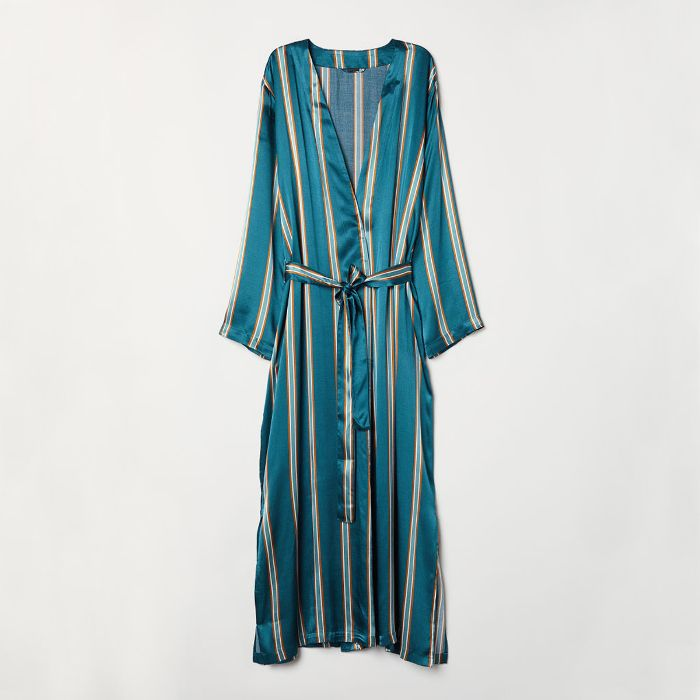H&M Striped Satin Dressing Gown