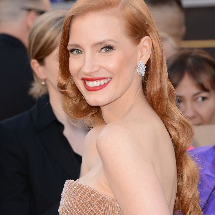 Jessica Chastain with vintage curls