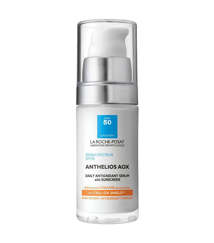 A pump tube of La Roche Posay Anthelios AOX Daily Antioxidant anti-aging serum at Target.
