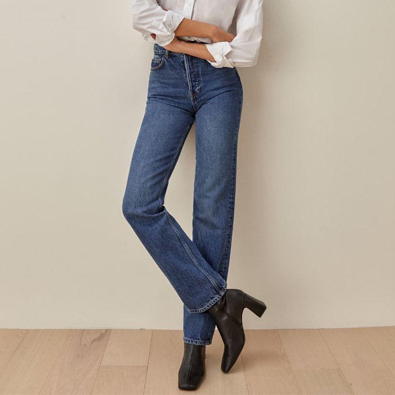 Cynthia High Rise Straight Long Jeans