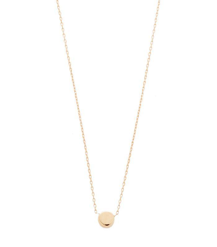 14k Gold Super Tiny Disc Necklace