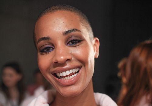 Model smiling backstage at Sydney Fashion Week